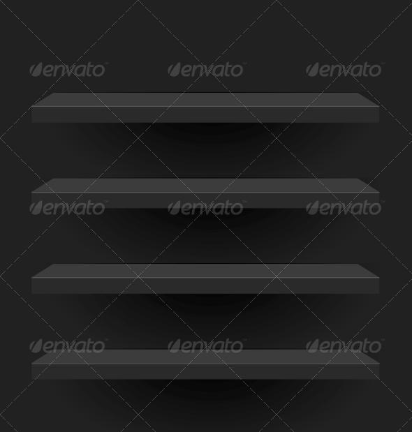 Black Vector Shelves for your Design - Backgrounds Decorative