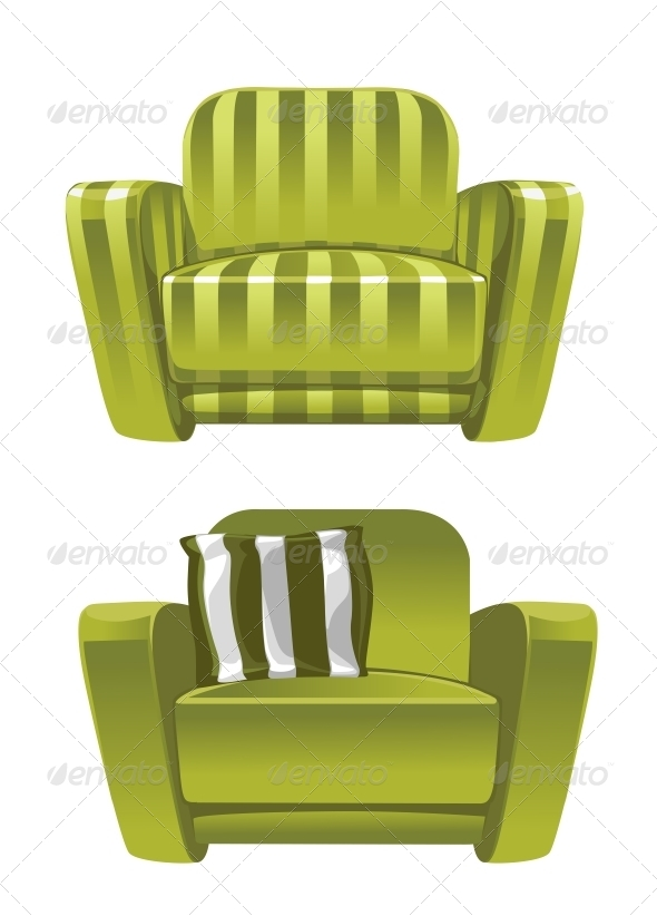 Green Soft Stripped Armchair - Man-made Objects Objects