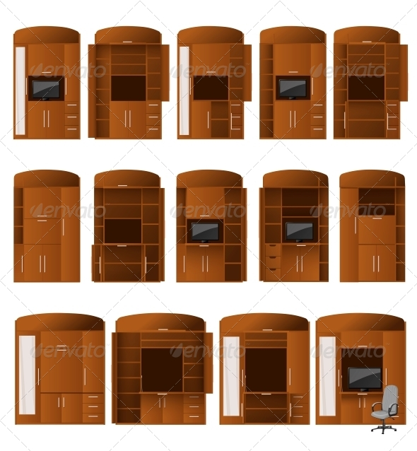 Collection of Cabinet Bureaus - Man-made Objects Objects