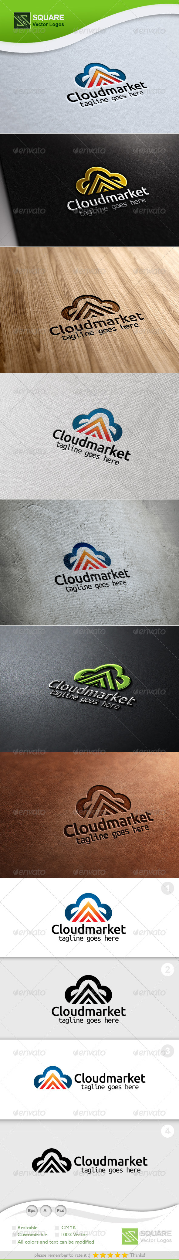Cloud, Up Arrow Vector Logo Template - Symbols Logo Templates