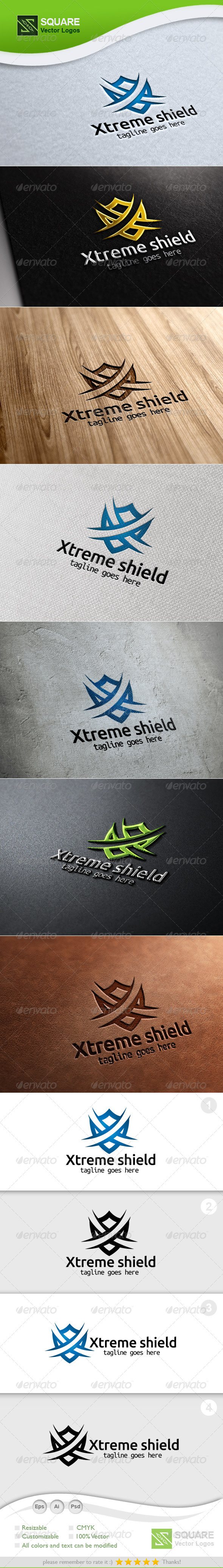 X, Shield Vector Logo Template - Letters Logo Templates