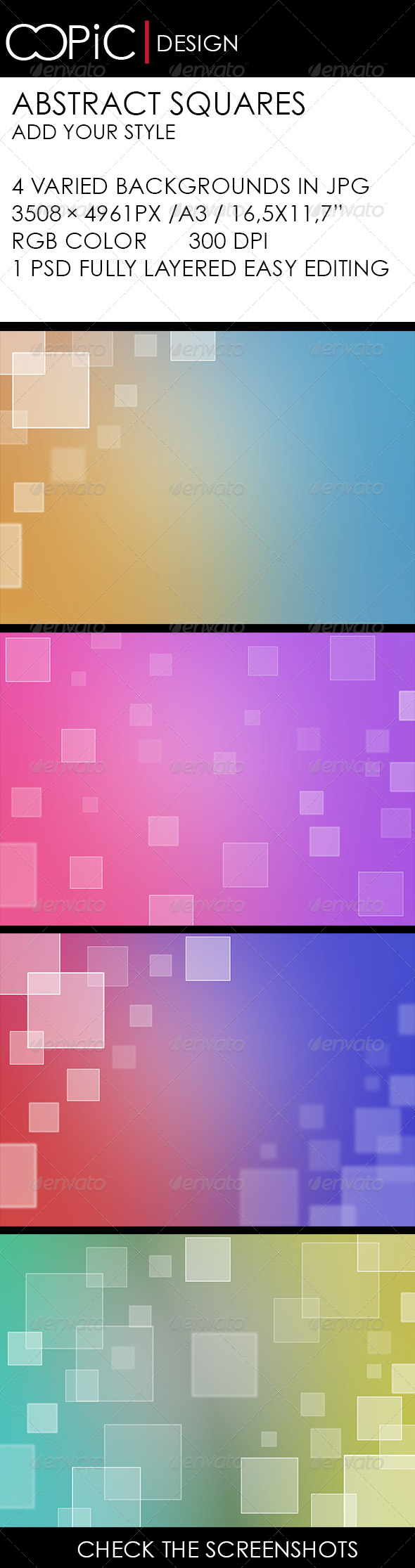Abstract Squares with Soft Colors - Backgrounds Graphics