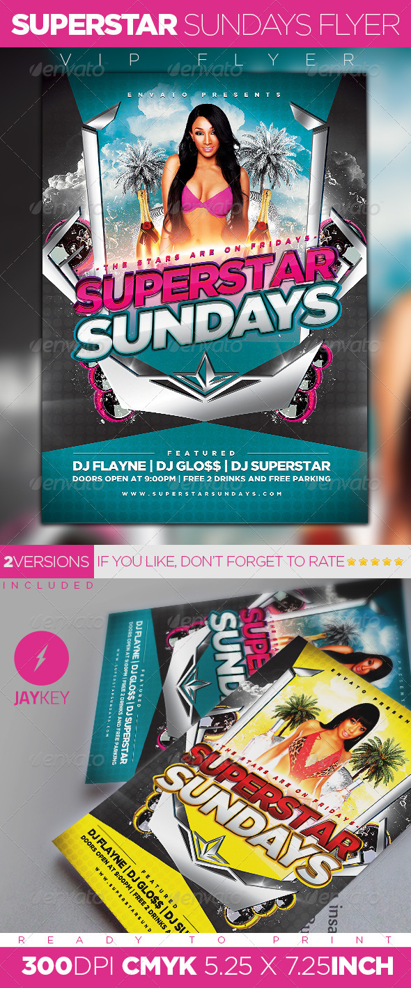 Superstar Sundays Party Flyer - Clubs & Parties Events