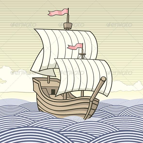Old-Time Sailing Ship - Travel Conceptual