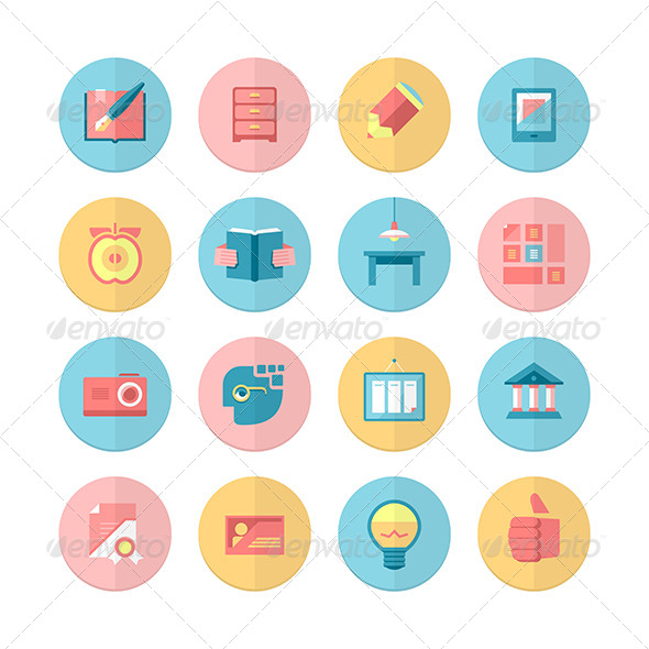 Education and Training. 16 Flat Icons Set - Miscellaneous Icons