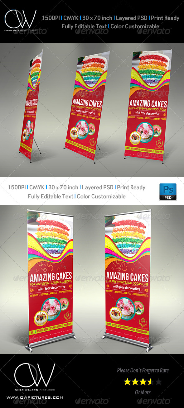 Cake Signage Roll Up Banner Template Vol.3 - Signage Print Templates