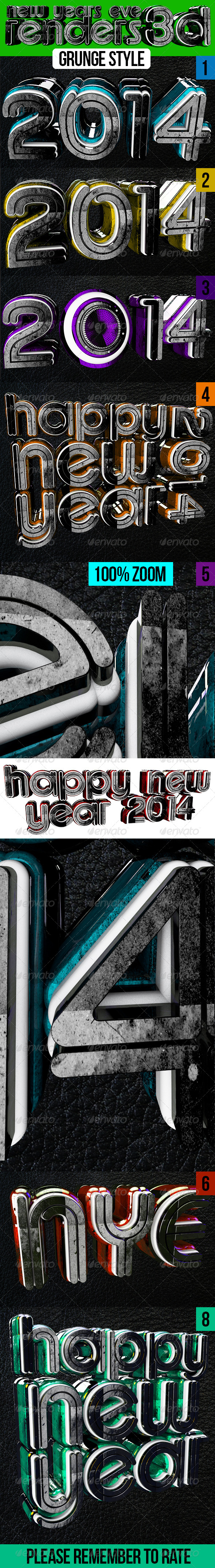 New Year Eve 3d Renders - Text 3D Renders