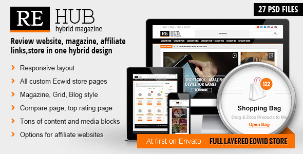 REHub – Hybrid Magazine, Shop, Review PSD Template