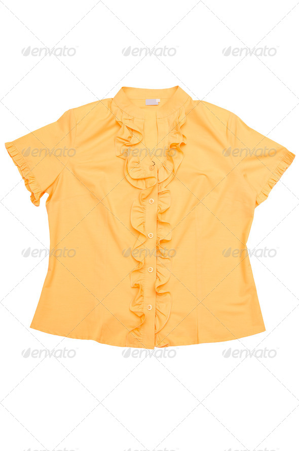 Modern yellow blouse  on a white. - Stock Photo - Images
