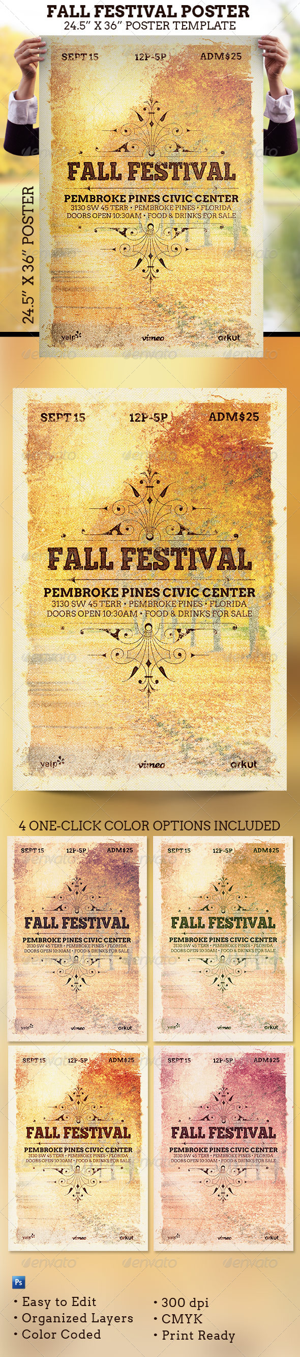 Fall Festival Poster Template - Signage Print Templates