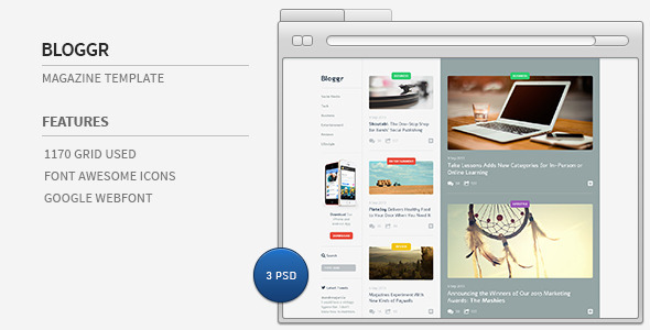 Bloggr- Magazine PSD Template