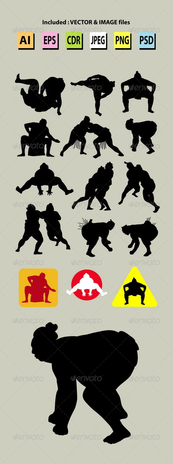 Sumo Silhouettes - Sports/Activity Conceptual