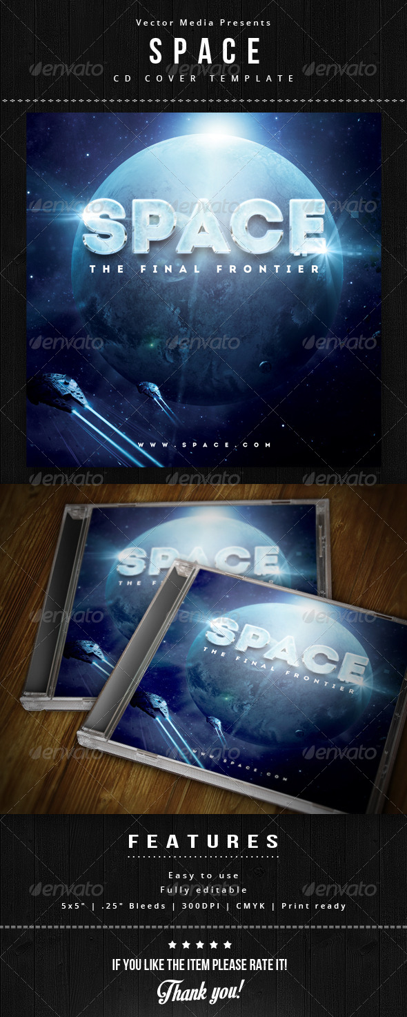 Space - Cd Cover - CD & DVD Artwork Print Templates