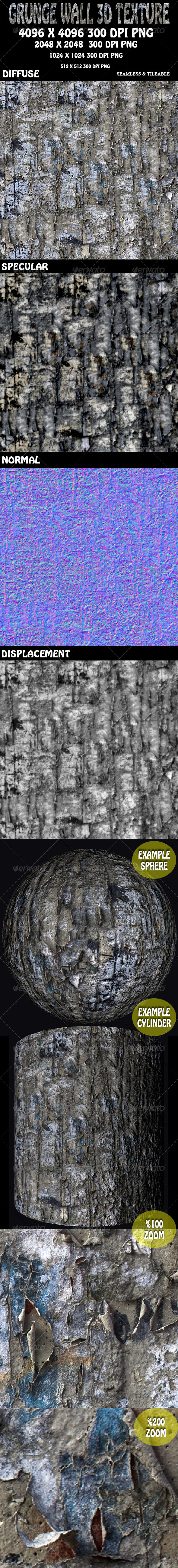 Grunge Wall 3D Texture - 3DOcean Item for Sale