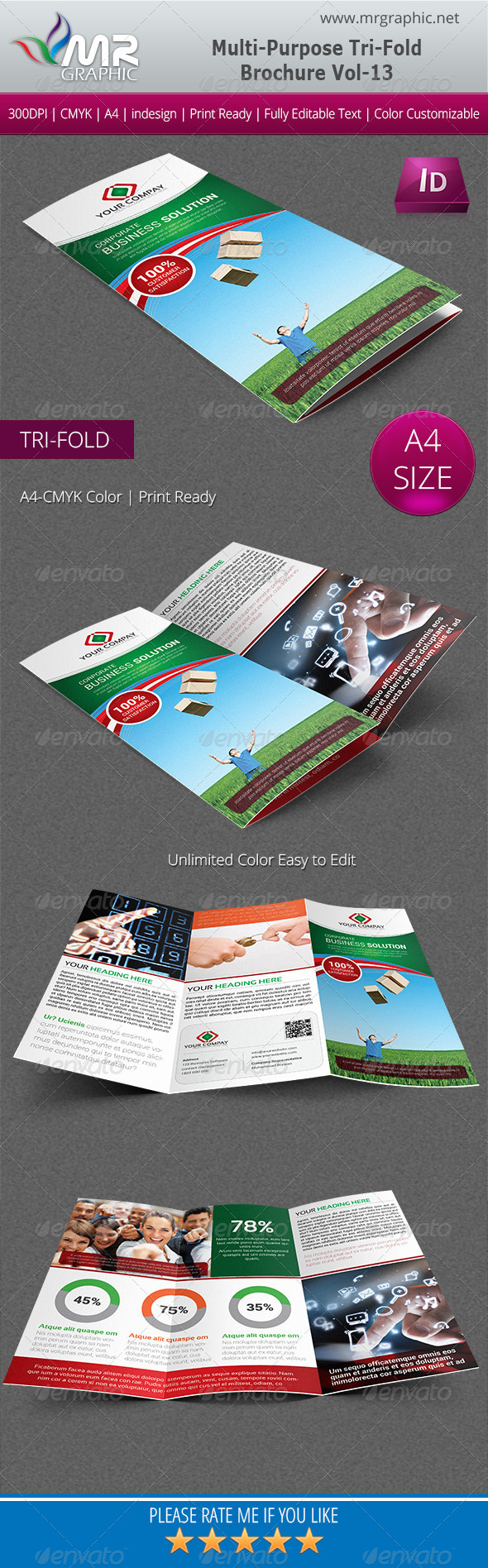 Multipurpose Business Tri-Fold Brochure Vol-13 - Corporate Brochures