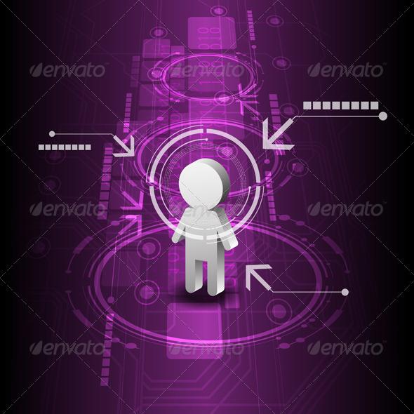 Human with Technology Background - Communications Technology