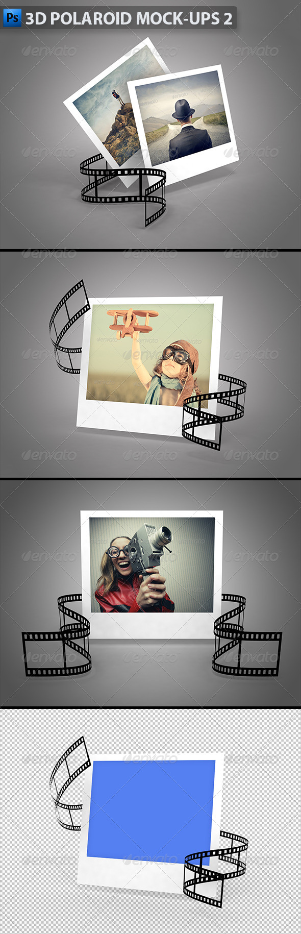 3D Polaroid Mock-Ups 2 - Miscellaneous Photo Templates