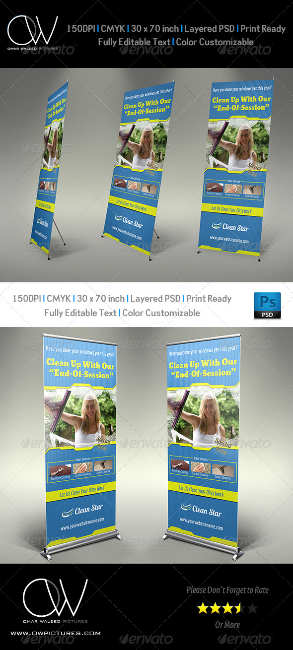 Cleaning Services Signage Roll Up Banner Template - Signage Print Templates