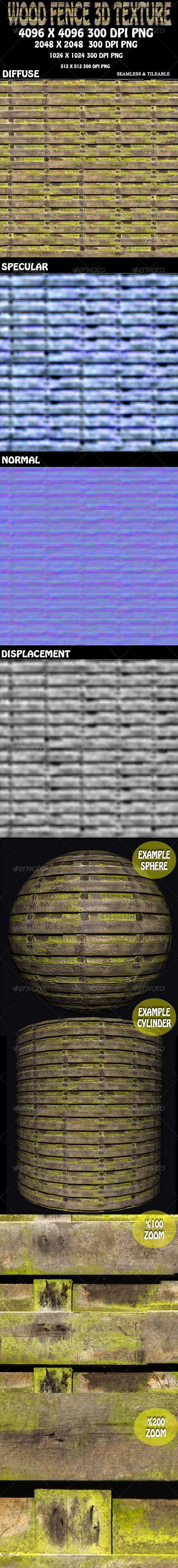 Wood Fence 3D Texture - 3DOcean Item for Sale
