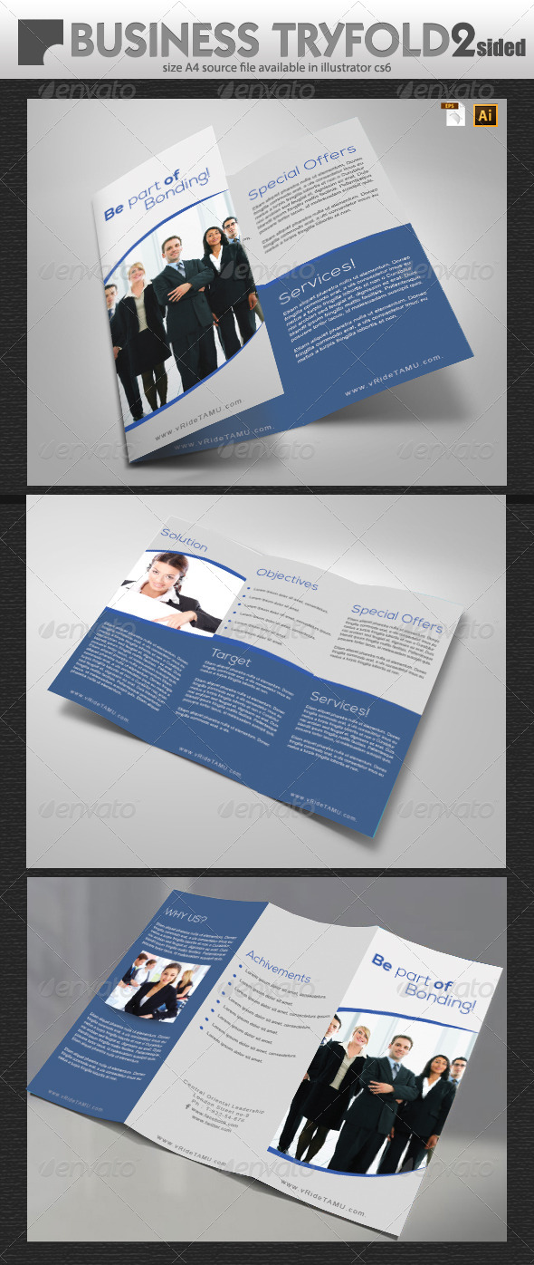 Business Tri-Fold Double Sided  - Brochures Print Templates