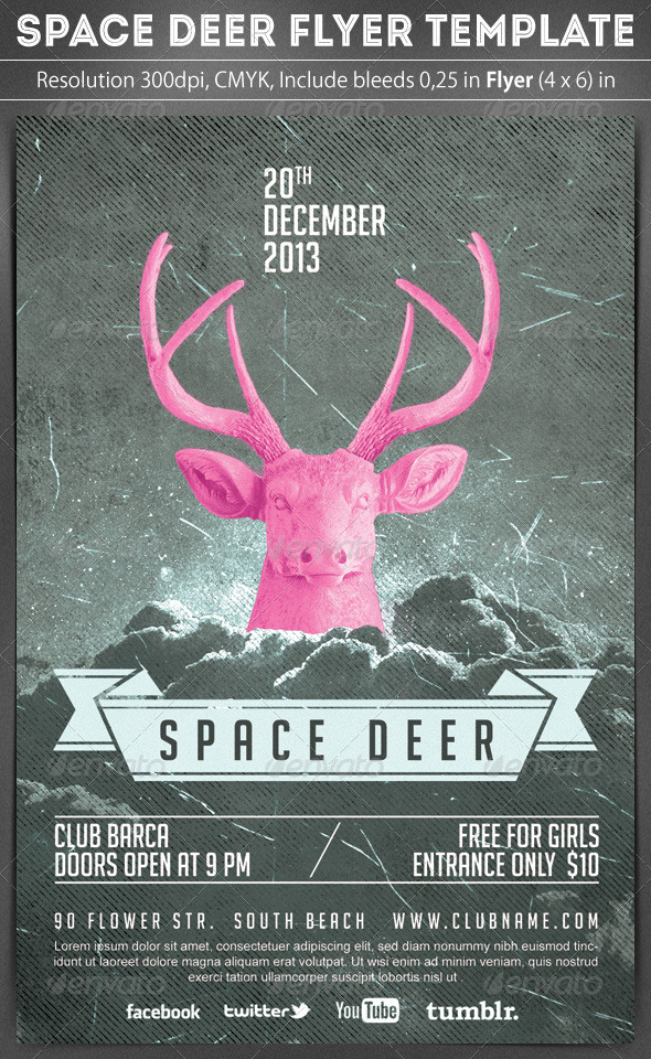 Space Deer Flyer Template - Clubs & Parties Events