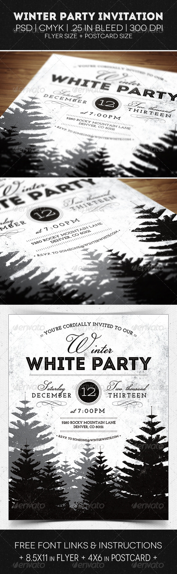 Winter Party Flyer & Invitation - Invitations Cards & Invites
