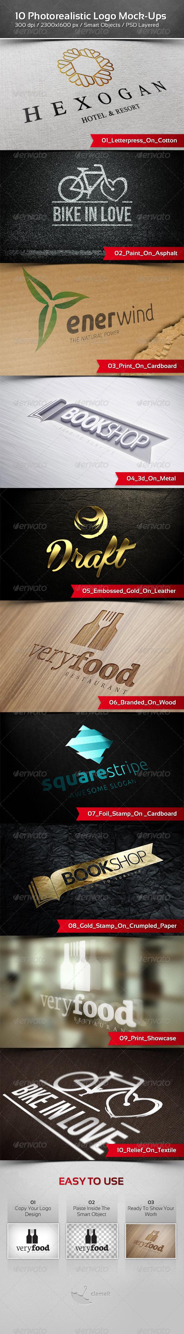 10 Photorealistic Logo Mock-Ups - Product Mock-Ups Graphics