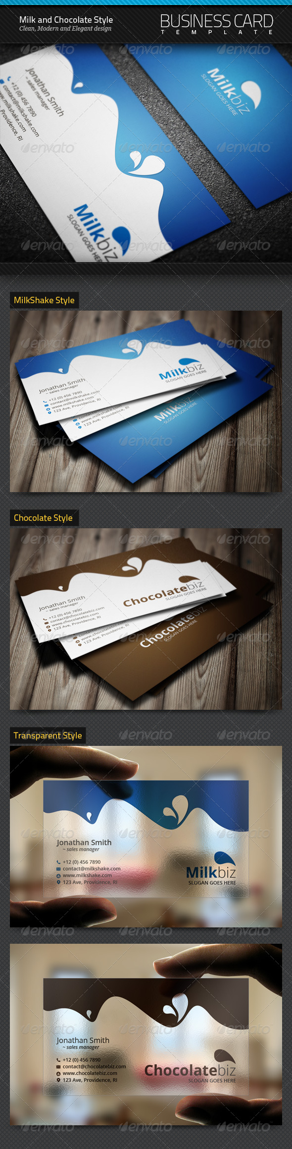 Milk and Chocolate Business Cards - Industry Specific Business Cards
