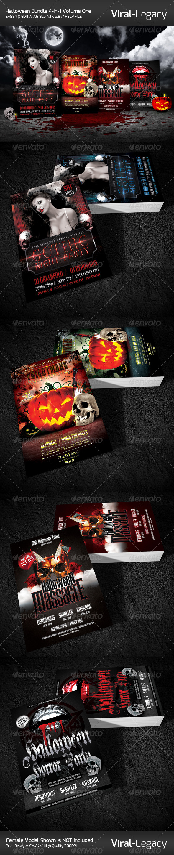 Halloween Bundle 4-in-1 Volume One - Events Flyers