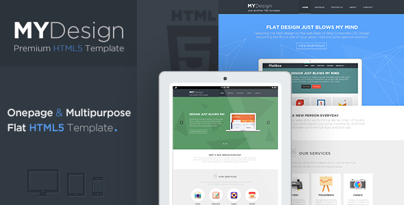 MYDesign - Onepage Multipurpose Flat HTML Template - Corporate Site Templates
