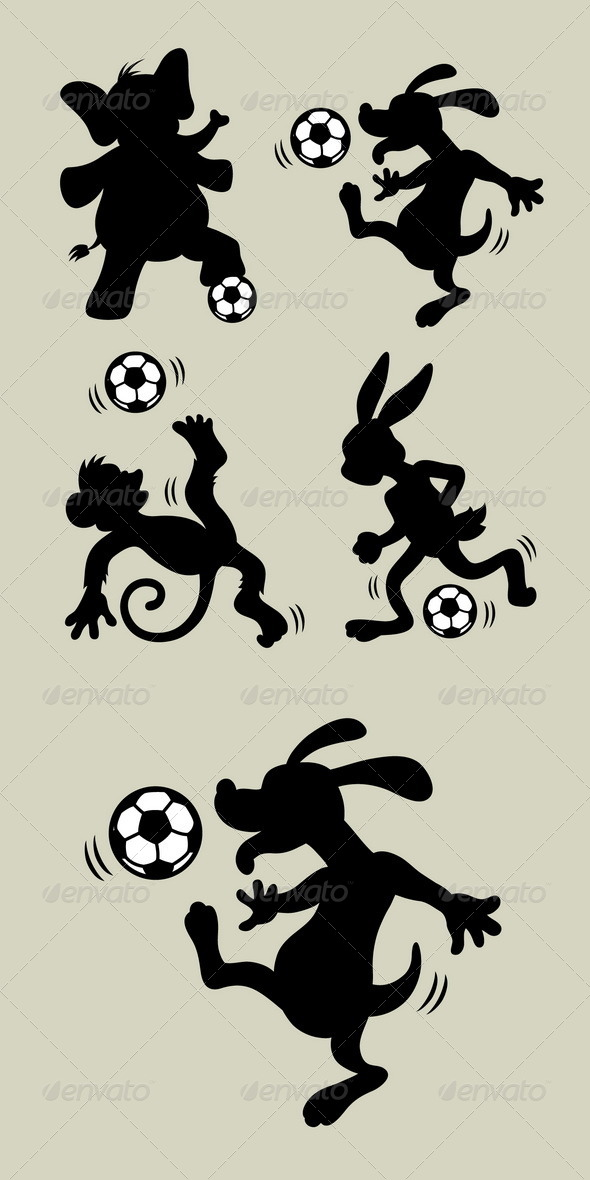 Animal Playing Soccer Silhouettes - Sports/Activity Conceptual