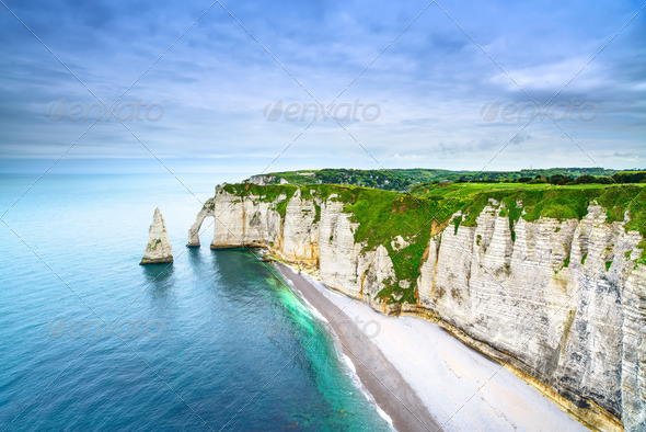 Etretat Aval cliff and rocks landmark and ocean . Normandy, France. - Stock Photo - Images