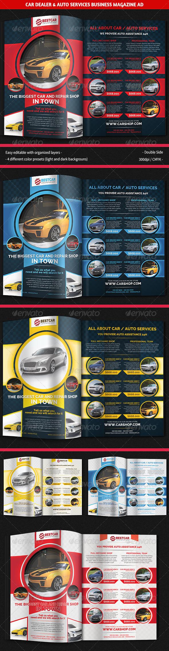 Car Dealer & Auto Services Business Magazine Ad - Magazines Print Templates