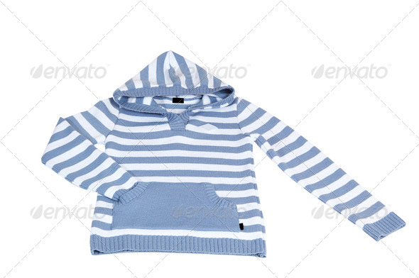 Woolen striped sweater on a white. - Stock Photo - Images
