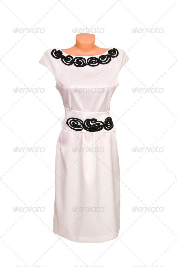 Classy white dress on a white. - Stock Photo - Images