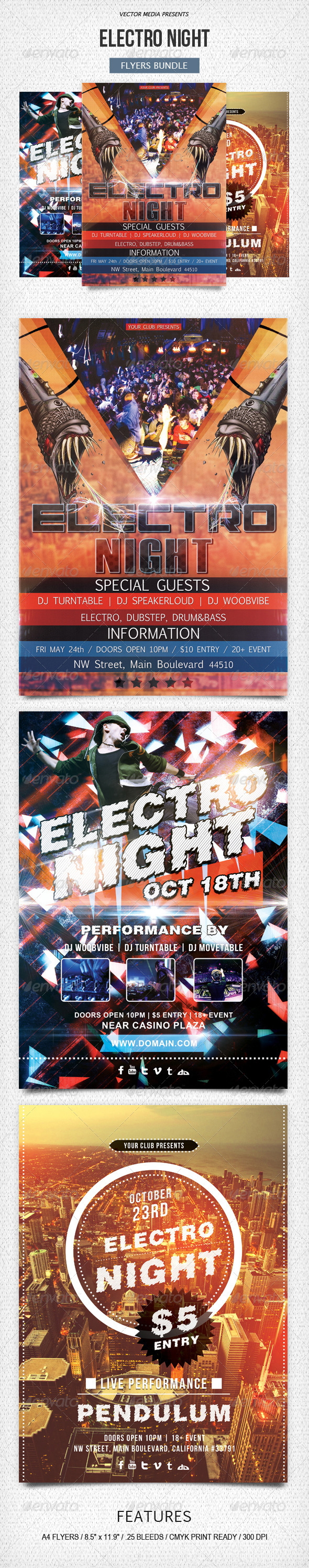 Electro Night - Flyers Bundle - Clubs & Parties Events