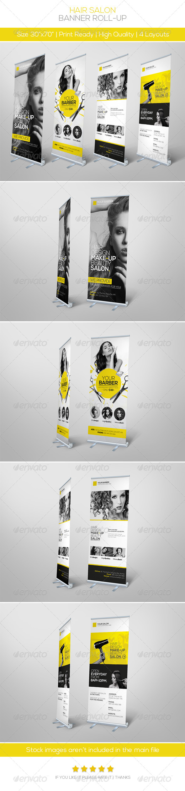 Premium Hair Salon Roll-up Banner - Signage Print Templates
