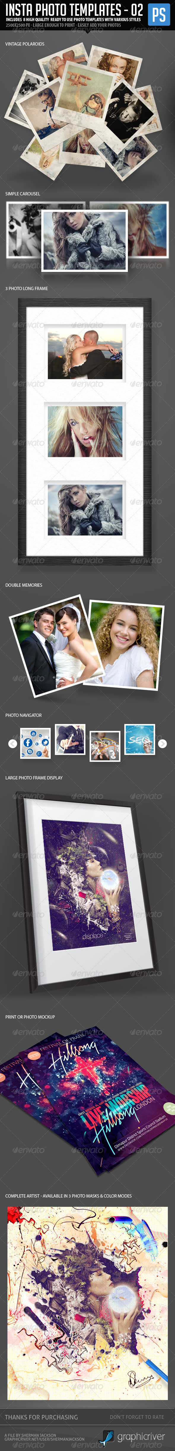 Insta Photo Templates (8 in 1) - Photo Templates Graphics