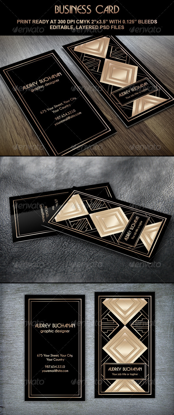 Business Card Art Deco Style II - Creative Business Cards