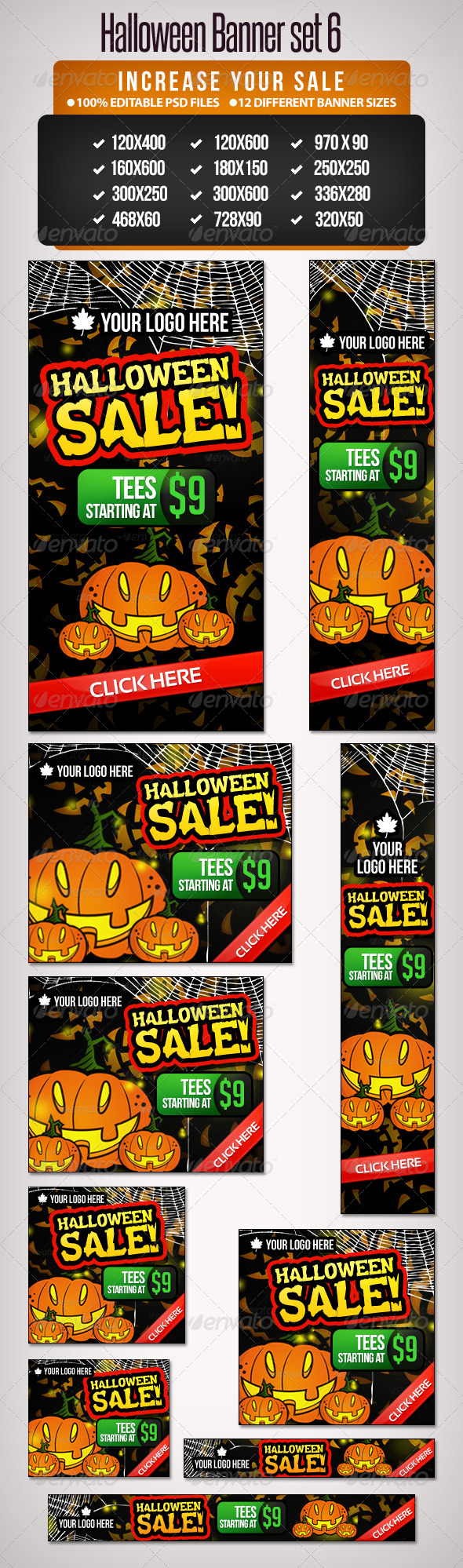 Halloween Banner Set 6 - 12 Google Standard Sizes - Banners & Ads Web Elements