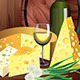 Cheeses and Wine on Dark Wooden Background - GraphicRiver Item for Sale