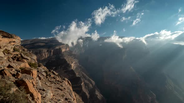 Landscape of Oman Mountains, Arabian Peninsula. Time Lapse of Jebel Shams Mountains