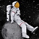 Astronaut Sitting On a Moon - VideoHive Item for Sale