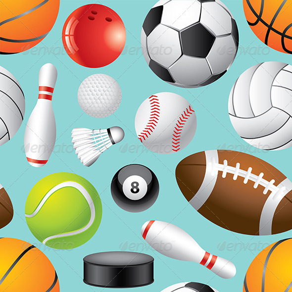 Sport Balls Seamless Background in Vector by andegro4ka