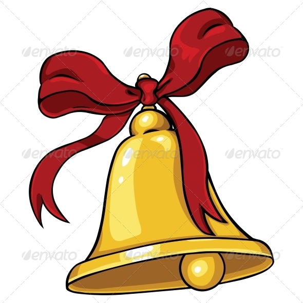 Vector cartoon golden bell with red ribbon by nikiteev
