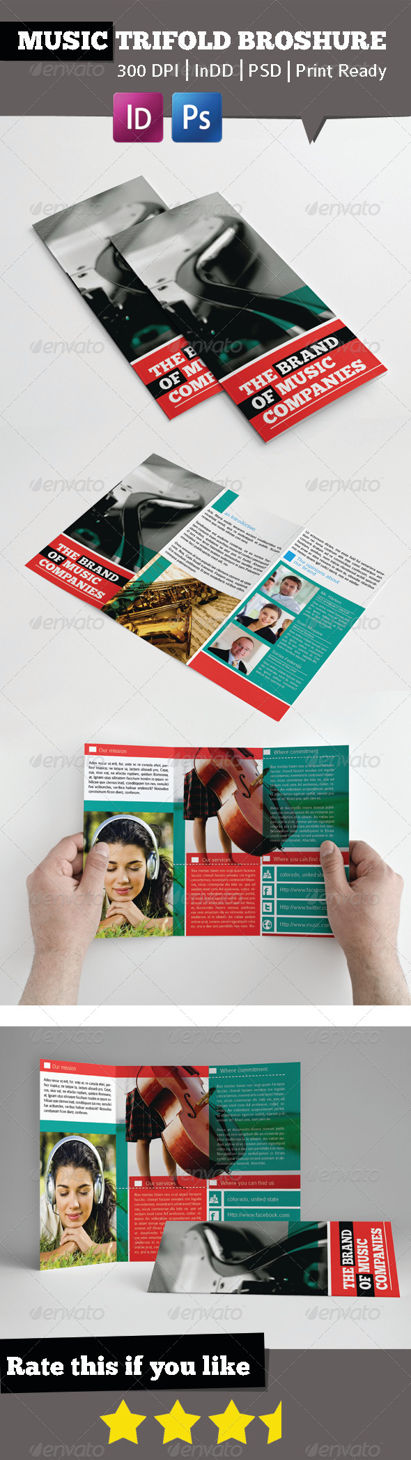 Music Brand Trifold Broshure - Brochures Print Templates