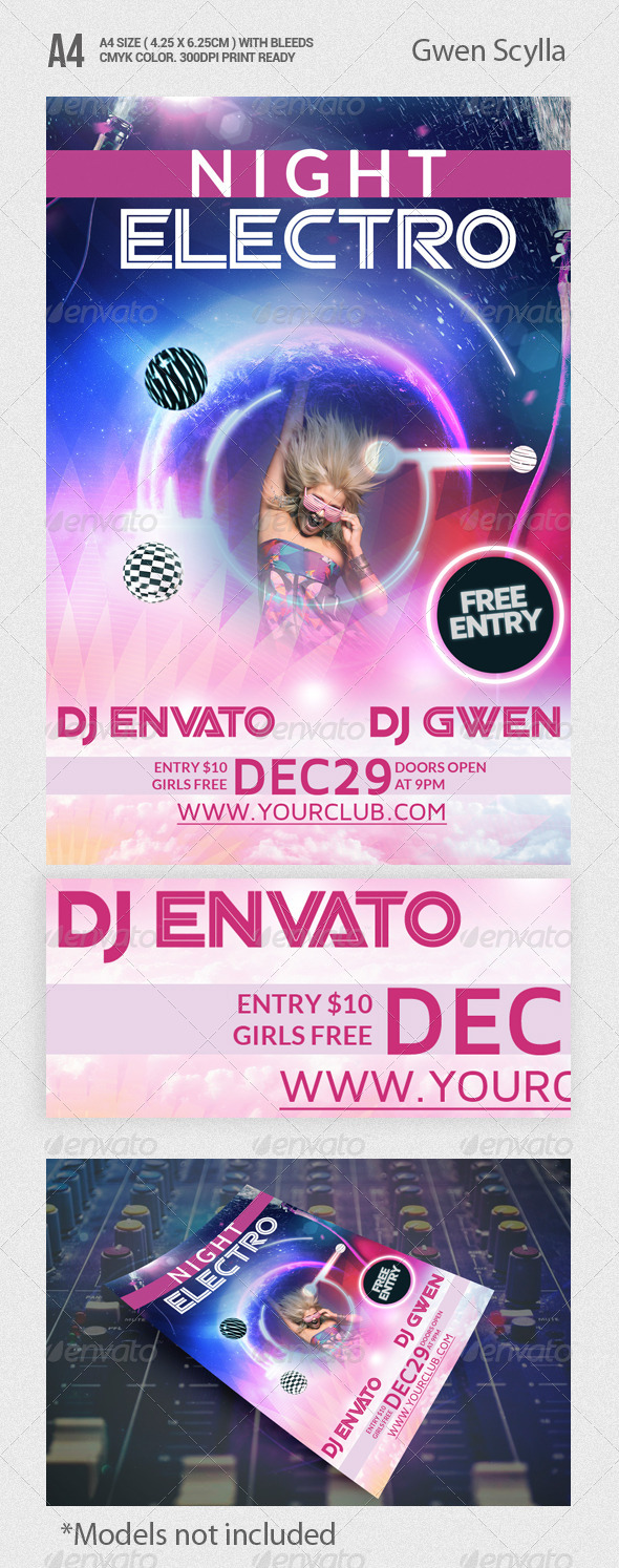 Night Electro Party Flyer Template - Clubs & Parties Events
