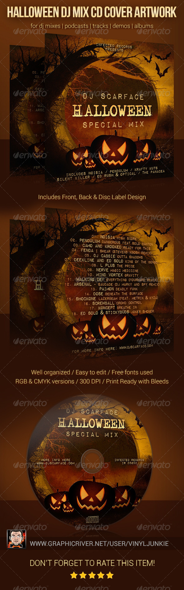 Halloween DJ Mix CD Cover Artwork Template - CD & DVD Artwork Print Templates