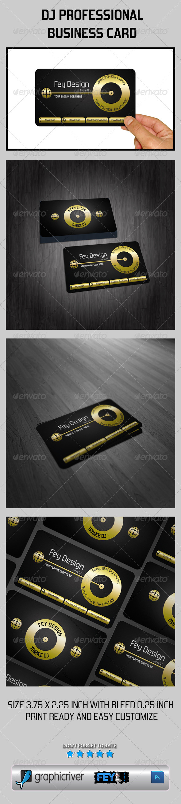 Dj Professional Business Card - Business Cards Print Templates
