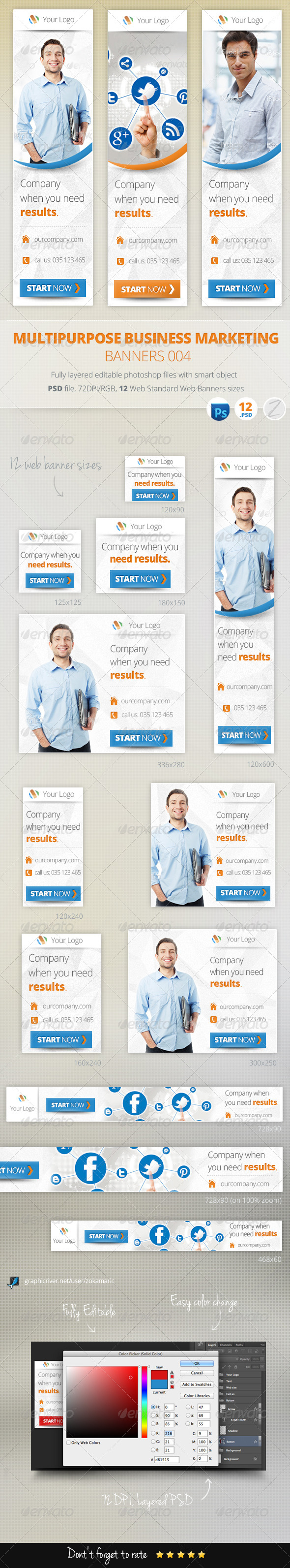 Multipurpose Business Marketing Banners 004 - Banners & Ads Web Elements